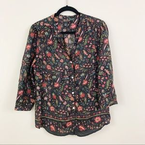 LUCKY BRAND 100% Silk 3/4 Sleeve Floral Button Top